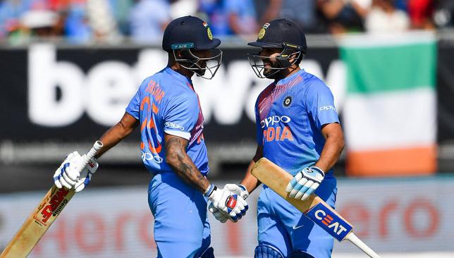 India captain Rohit Sharma (r).