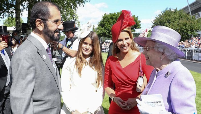 HRH Sheikh Mohammed chats with HRH Queen Elizabeth II before the Derby.