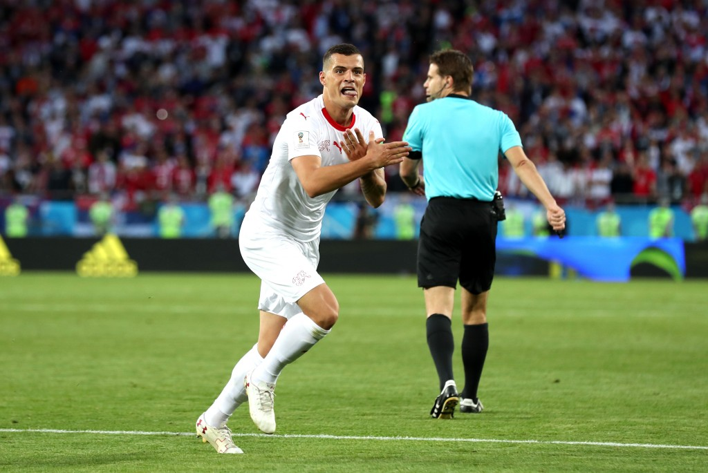 Xhaka made a statement after scoring for Switzerland.