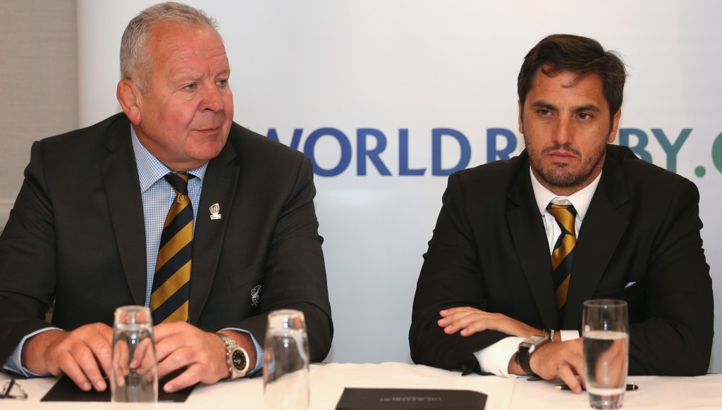Bill Beaumont (Chairman of World Rugby, left) and Agustin Pichot (Vice-Chairman)