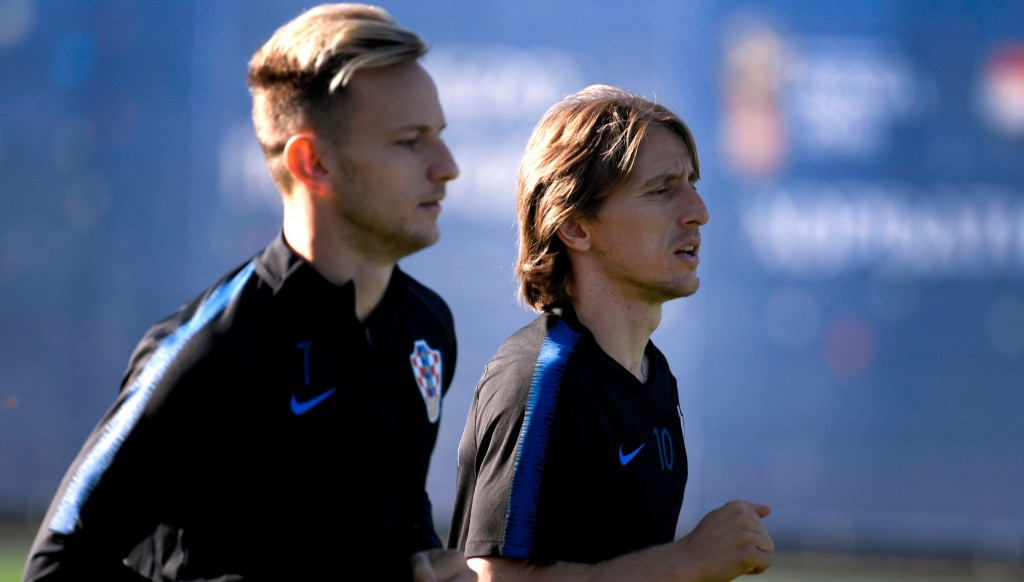 Croatia's midfielder Ivan Rakitic and Croatia's midfielder Luka Modric