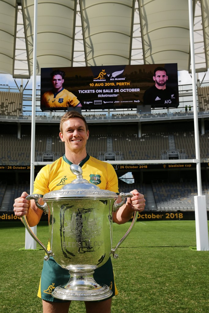 Dane Haylett-Petty with the Bledisloe Cup - probably the closest a Wallaby will get to the famous trophy this year.