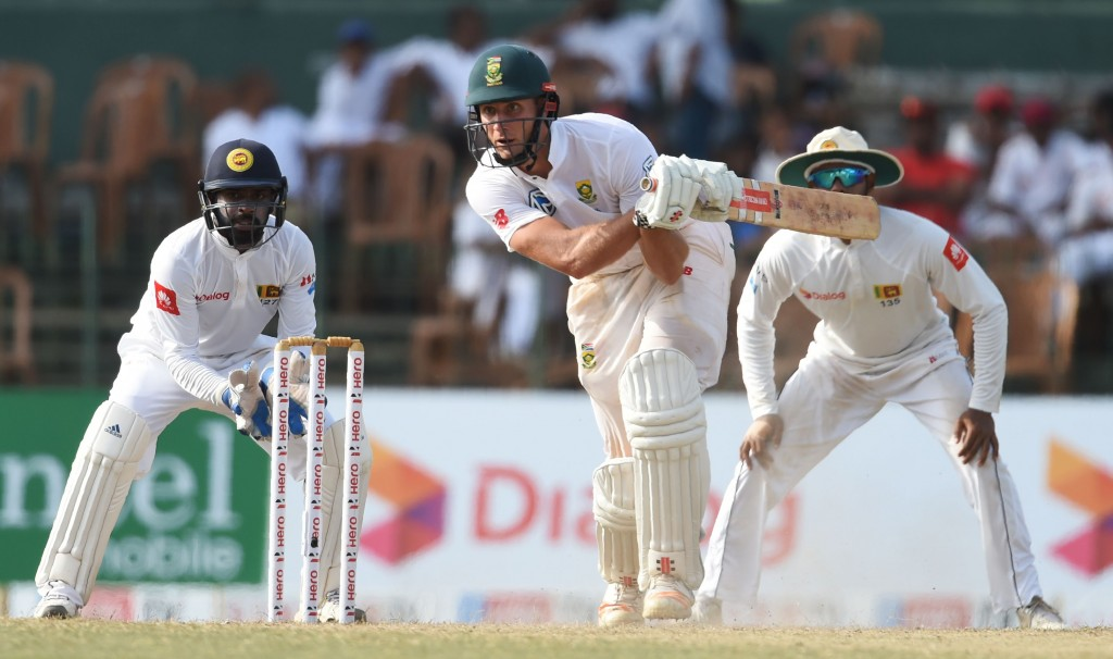 Theunis de Bruyn battled hard for the visitors with a maiden Test ton.