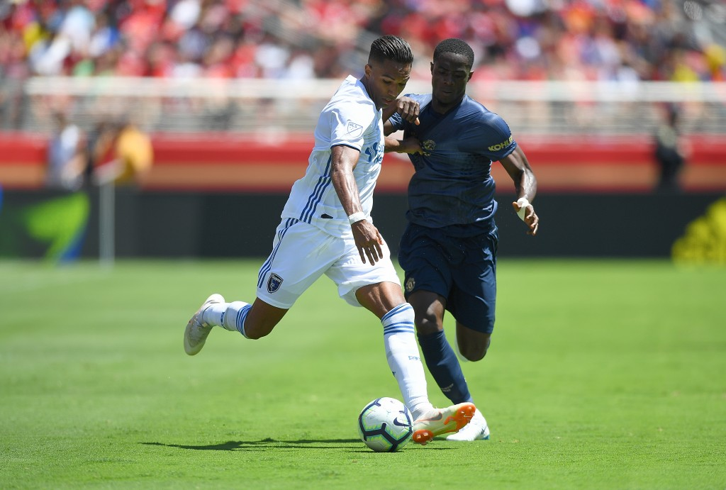 SANTA CLARA, CA - JULY 22: Danny Hoesen #9 of the San Jose Earthquakes battles for control of the ball with Eric Bailly #3 of Manchester United during the first half of their exhibition soccer game at Levi's Stadium on July 22, 2018 in Santa Clara, California. (Photo by Thearon W. Henderson/Getty Images)