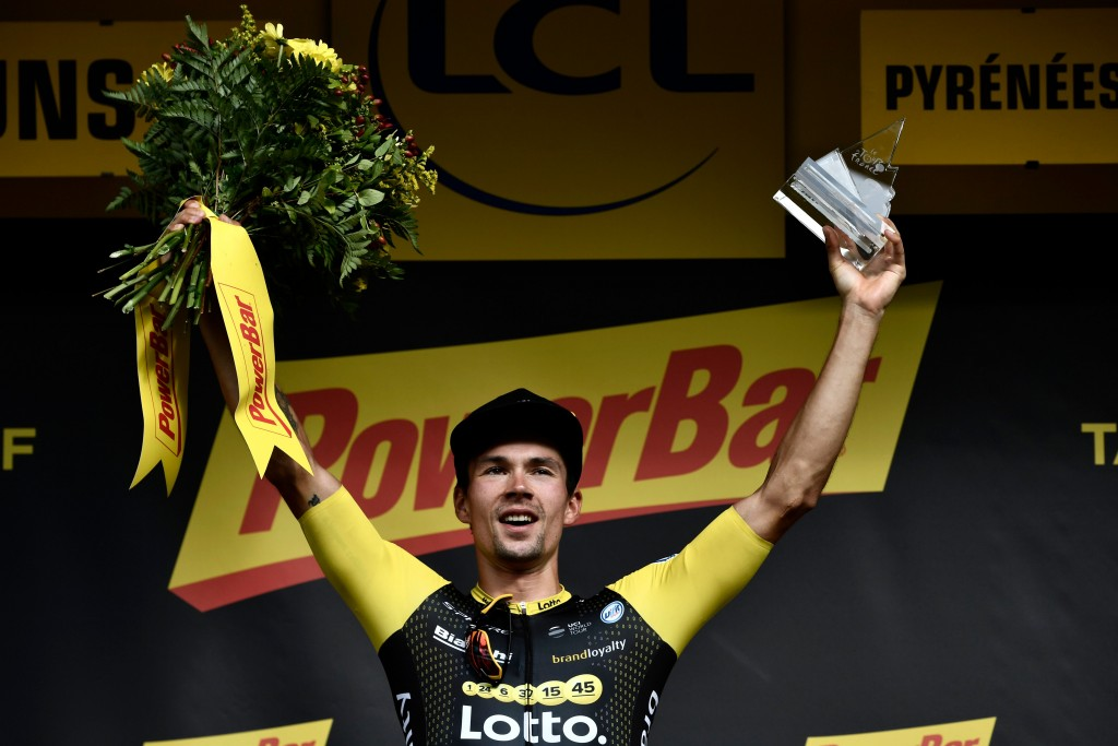 Roglic celebrates his 19th stage win on Friday.