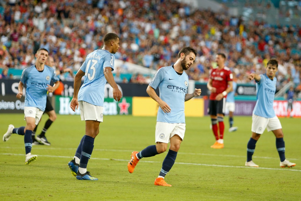 MIAMI, FL - JULY 28: Bernardo Silva #20 celebrates after scoring a goal against Bayern Munich in the first half of the International Champions Cup at Hard Rock Stadium on July 28, 2018 in Miami, Florida. (Photo by Michael Reaves/Getty Images)