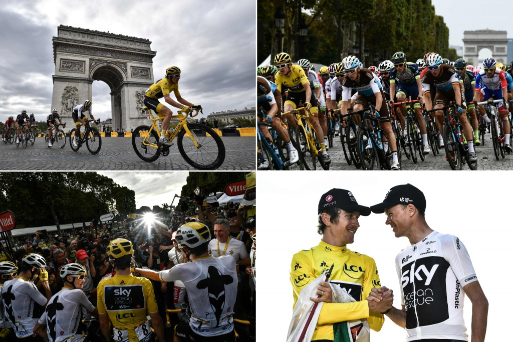 (COMBO) This combination of photos taken during the 21st and last stage of the 105th edition of the Tour de France cycling race between Houilles and Paris Champs-Elysees, on July 29, 2018 shows (Clockwise From Top L) Great Britain's Geraint Thomas (R) riding past the Arc de triomphe monument - Great Britain's Geraint Thomas (L) wearing the overall leader's yellow jersey and France's Romain Bardet (C) riding in the pack in front of the the Arc de triomphe monument - Tour de France 2018 winner Great Britain's Geraint Thomas (L), wearing the overall leader's yellow jersey, shaking hands with third-placed Great Britain's Christopher Froome on the podium after the stage - Tour de France winner Great Britain's Geraint Thomas (C) wearing the overall leader's yellow jersey and Great Britain's Christopher Froome (3rdL) pose with their teammates for photographers after the stage. (Photo by AFP) (Photo credit should read JEFF PACHOUD,MARCO BERTORELLO,PHILIPPE LOPEZ/AFP/Getty Images)