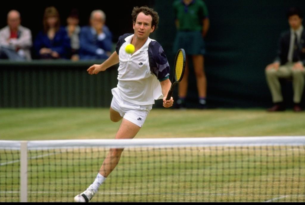 Jun-Jul 1989: John McEnroe of the USA in action during the Lawn Tennis Championships at Wimbledon in London. Mandatory Credit: Bob Martin/Allsport