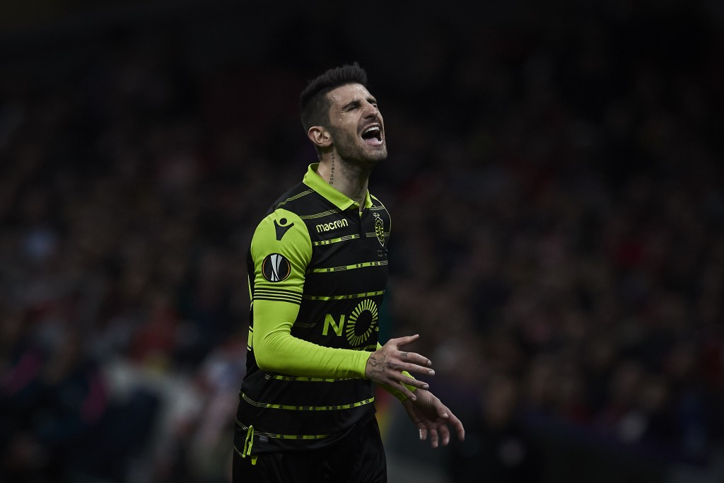 MADRID, SPAIN - APRIL 05: Cristiano Piccini of Sporting CP reacts during the UEFA Europa League quarter final leg one match between Club Atletico Madrid and Sporting CP at Wanda Metropolitano stadium on April 5, 2018 in Madrid, Spain. (Photo by Gonzalo Arroyo Moreno/Getty Images) *** Local Caption *** Cristiano Piccini