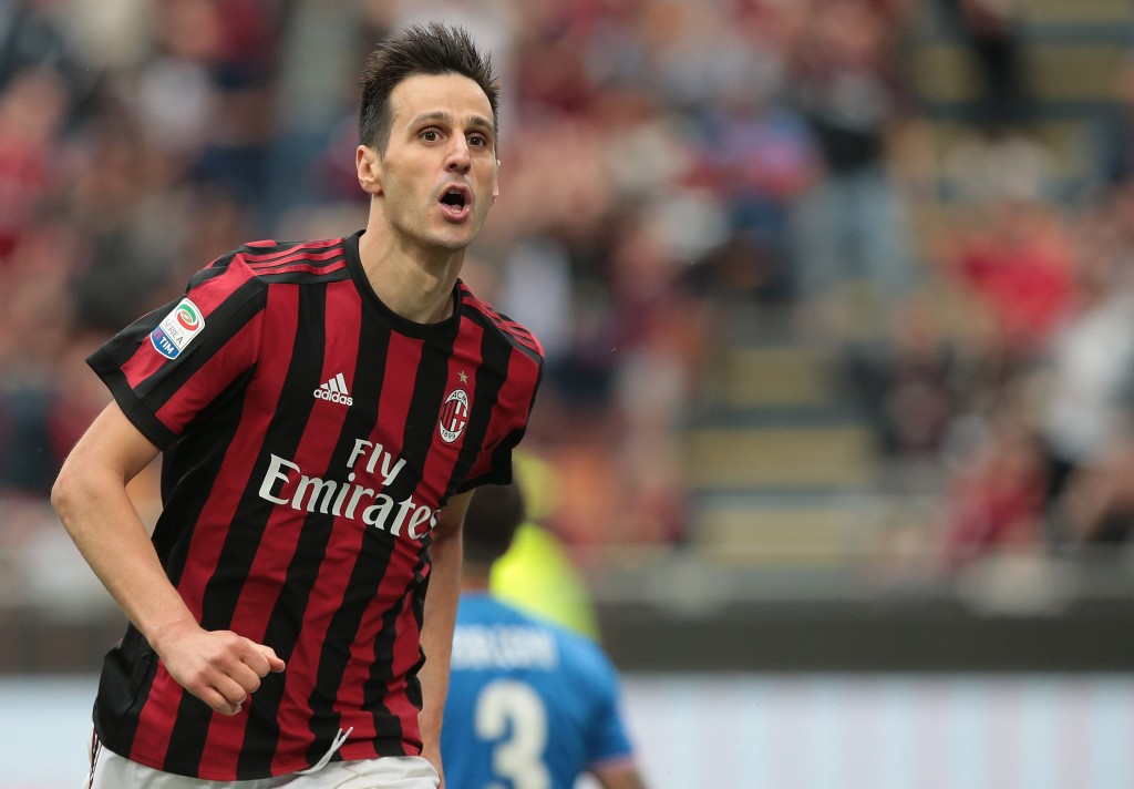 MILAN, ITALY - MAY 20: Nikola Kalinic of AC Milan celebrates his goal during the serie A match between AC Milan and ACF Fiorentina at Stadio Giuseppe Meazza on May 20, 2018 in Milan, Italy. (Photo by Emilio Andreoli/Getty Images)