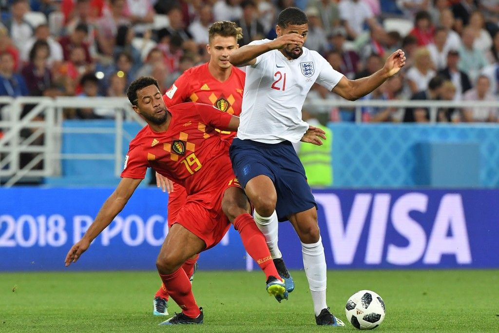 Belgium's midfielder Moussa Dembele (L) vies with England's midfielder Ruben Loftus-Cheek during the Russia 2018 World Cup Group G football match between England and Belgium at the Kaliningrad Stadium in Kaliningrad on June 28, 2018. (Photo by Patrick HERTZOG / AFP) / RESTRICTED TO EDITORIAL USE - NO MOBILE PUSH ALERTS/DOWNLOADS (Photo credit should read PATRICK HERTZOG/AFP/Getty Images)