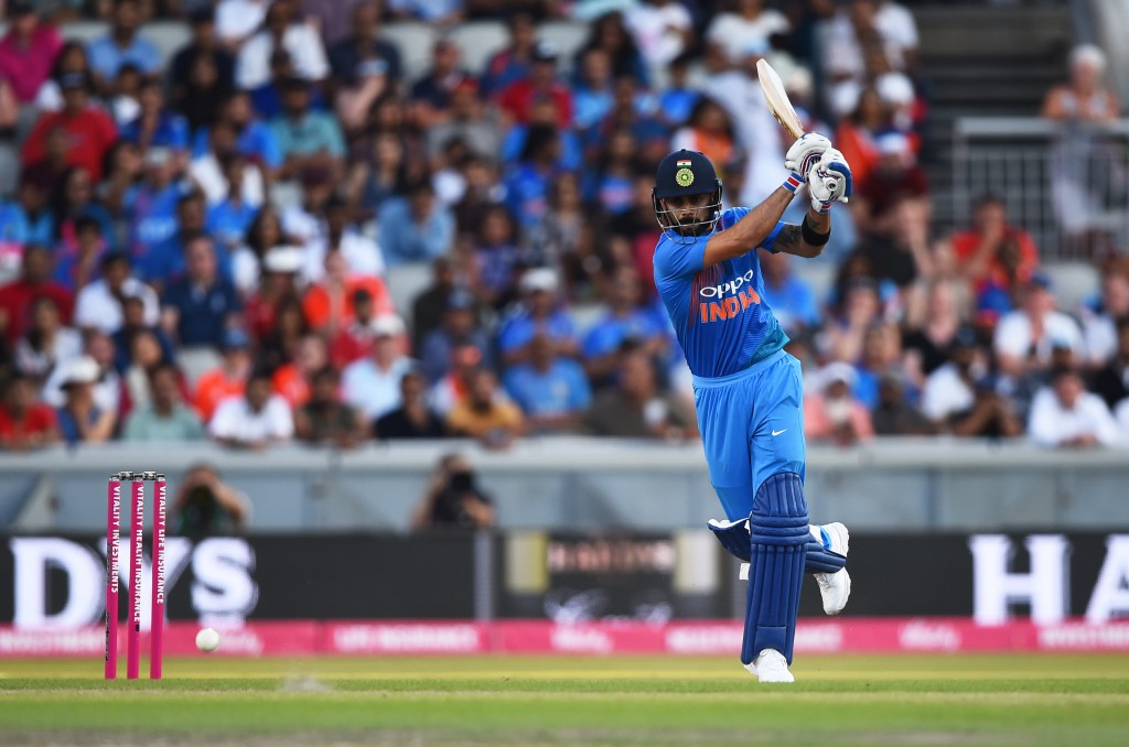 MANCHESTER, ENGLAND - JULY 03: Virat Kohli of India batting during the 1st Vitality International T20 match between England and India at Emirates Old Trafford on July 3, 2018 in Manchester, England. (Photo by Nathan Stirk/Getty Images)