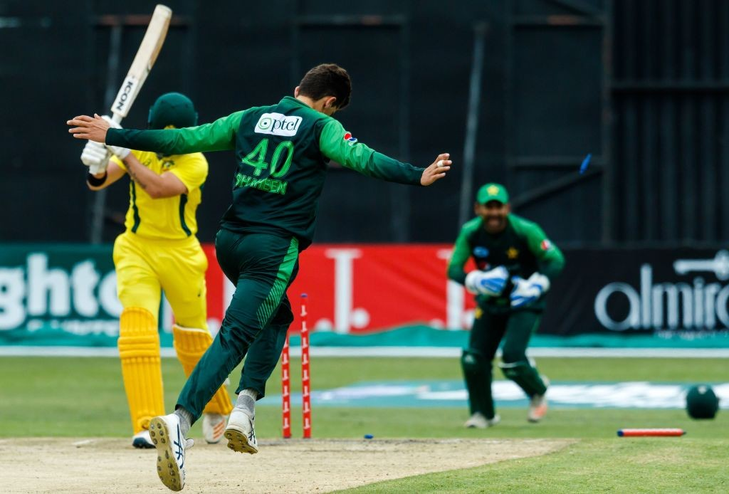 Short's stumps are rattled by Afridi.