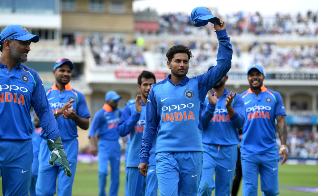 Kuldeep take the applause after his six-wicket haul.