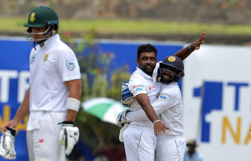 South Africa were bowled out for just 73 in the second innings at Galle.