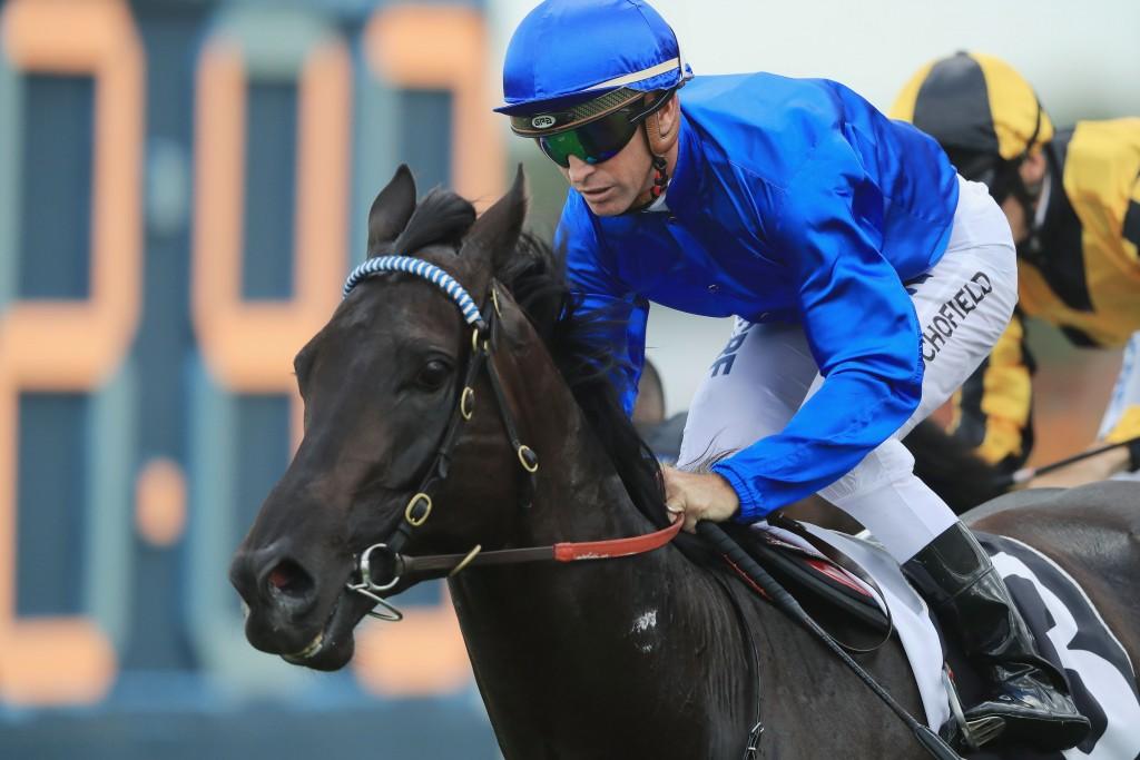 Glyn Schofield on Kementari wins The Hobartville Stakes at Rosehill