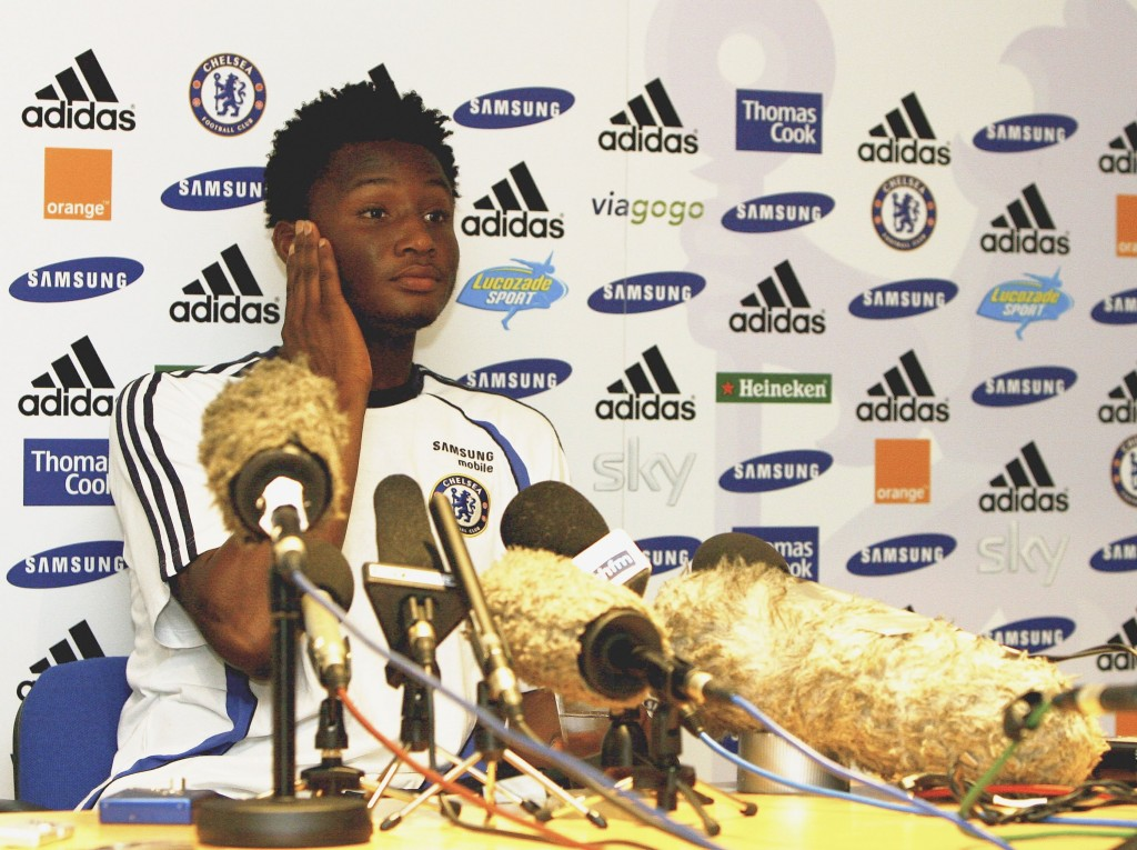John Obi Mikel after signing for Chelsea in 2006