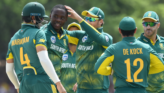 Kagiso Rabada (second left) picked up four wickets in Dambulla.