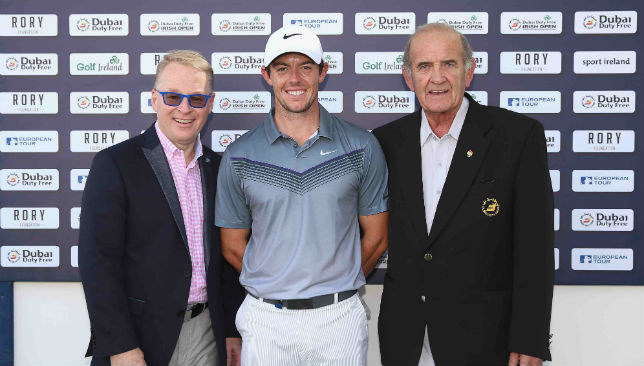 Keith Pelley is pictured with Rory McIlroy and Colm McLoughlin (lr)