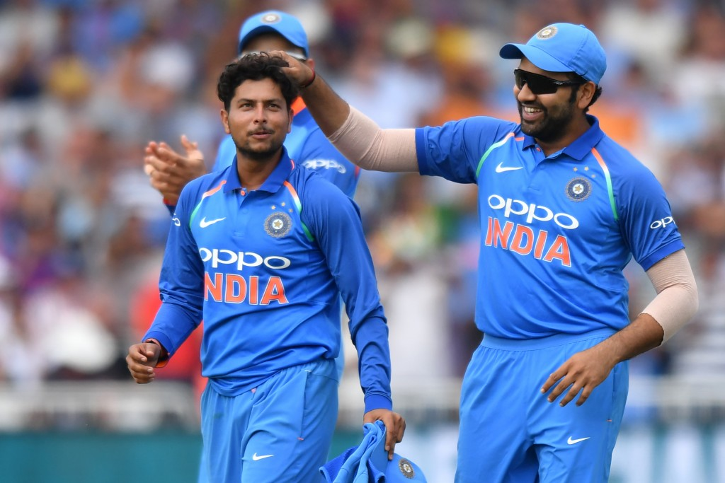 Kuldeep Yadav congratulated after his six wicket haul in the first ODI