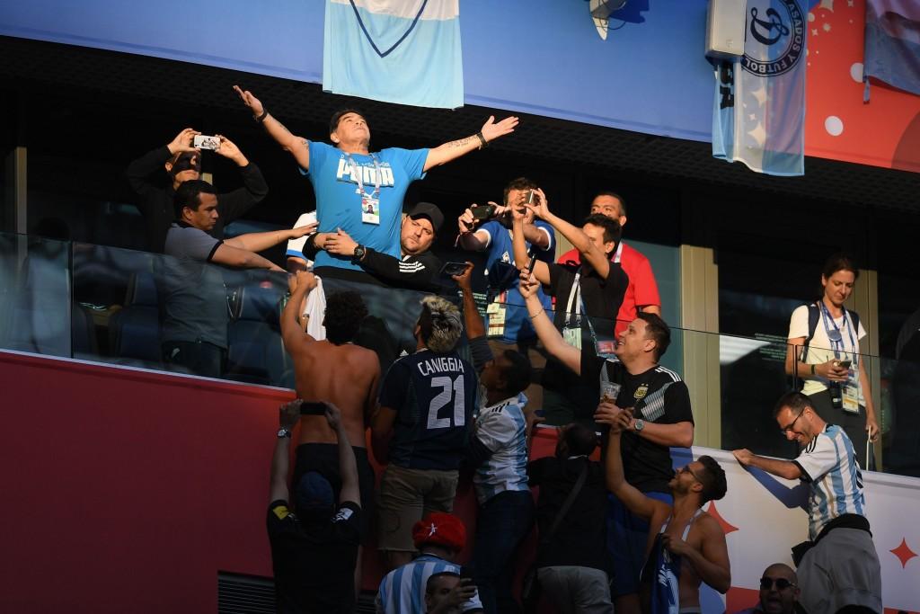 Maradona before the Argentina v Nigeria match