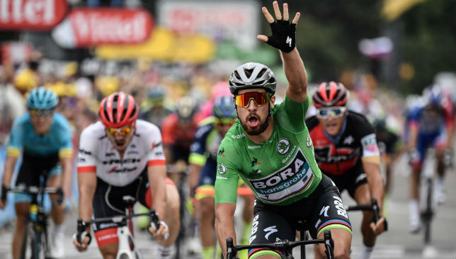 Peter Sagan, wearing the best sprinter's green jersey,