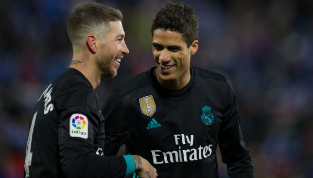 Ramos of Real Madrid celebrates with Rafael Varane