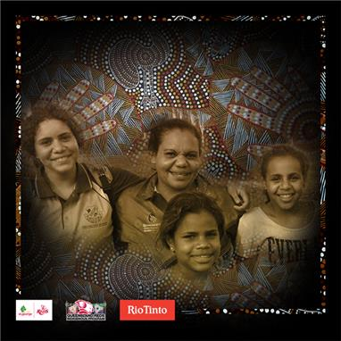 Indigenous Round jersey designer Samantha Booth with her three children Shelley (Year 9), Dinequa (Year 8) and Natalie (Year 7).