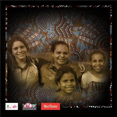 Indigenous Round jersey designer Samantha Booth with her three children Shelley (Year 9), Dinequa (Year 8) and Natalie (Year 7).