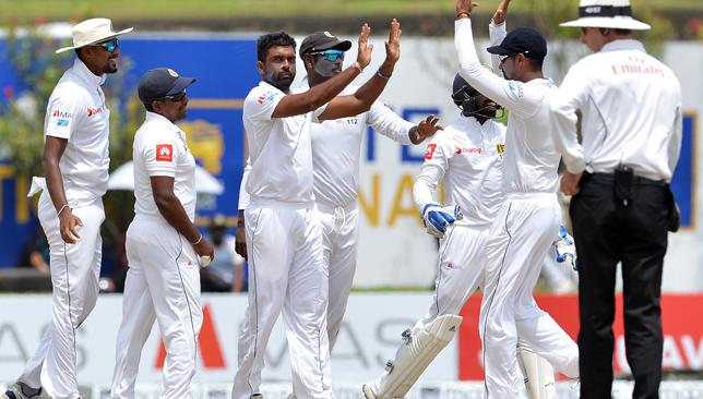 Sri Lanka's Dilruwan Perera (C) took six wickets