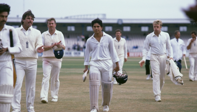 17-year-old Tendulkar takes in the applause at Old Trafford in 1990.