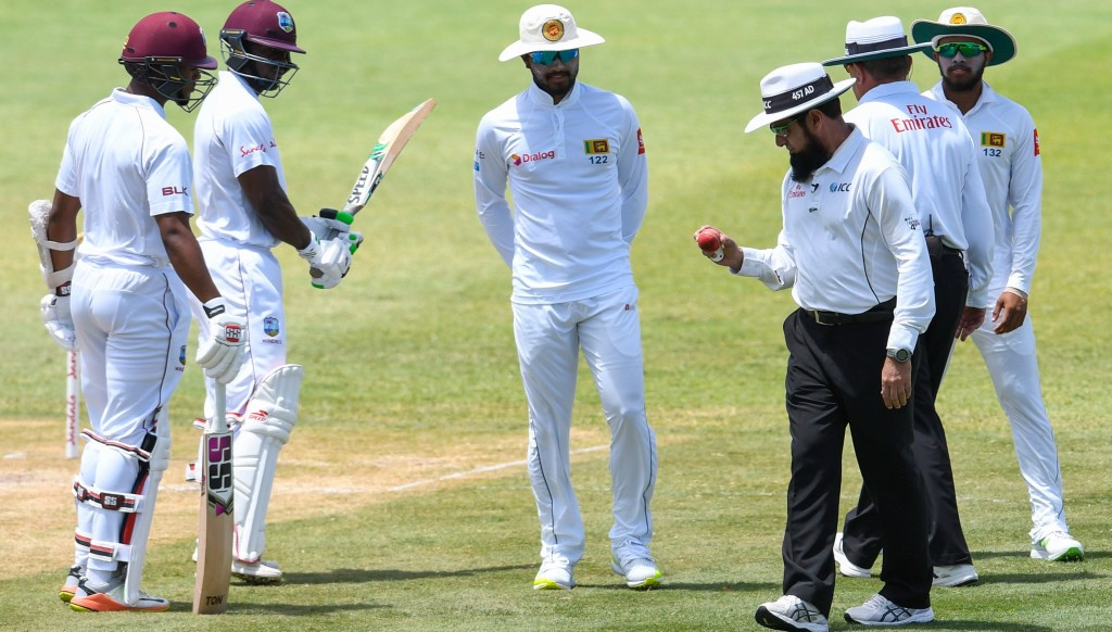 The 'ball-tampering' incident that led to Dinesh Chandimal (C) being suspended.