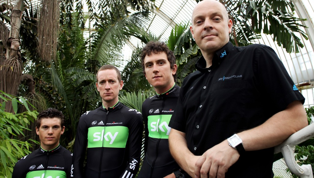 Thomas (2nd r) in his earlier Sky days with (from l) Ben Swift, Sir Bradley Wiggins and Sir Dave Brailsford.
