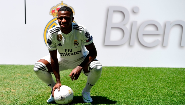 New home: Vinicius Junior at the Bernabeu.