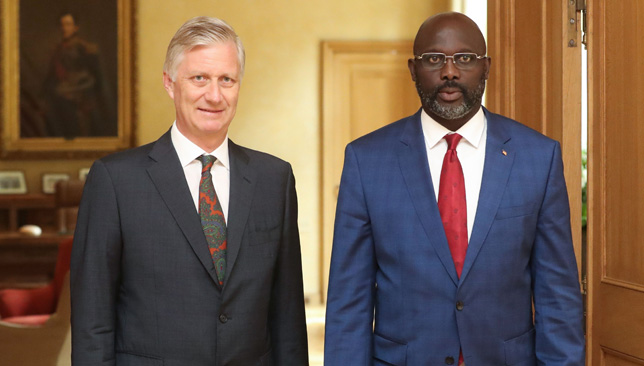 Liberian President George Weah with King Philippe of Belgium.