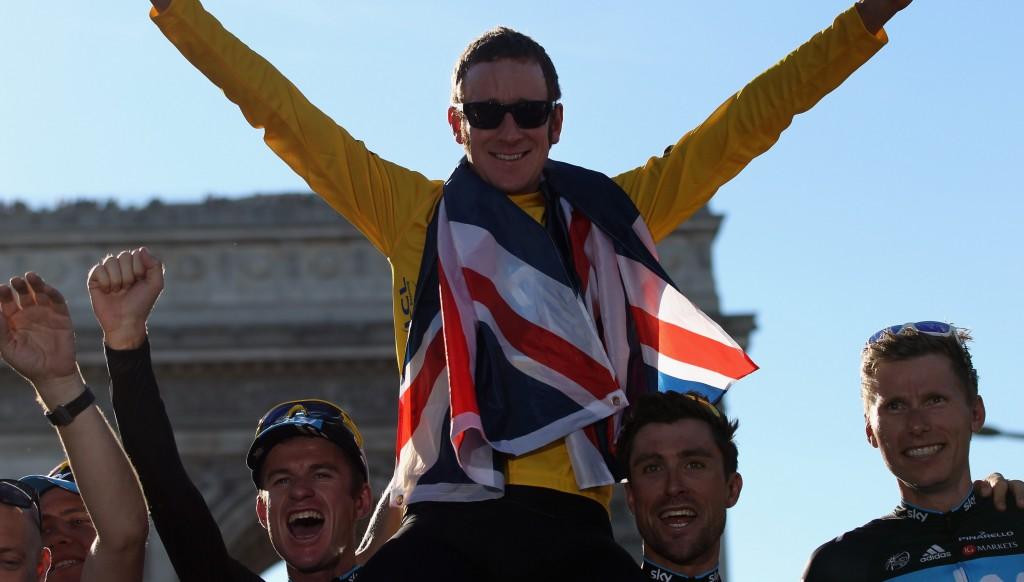 Sir Bradley Wiggins was the first British winner of the Tour de France in 2012.