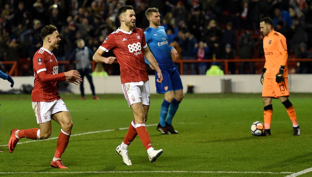 Ben Brereton (r) after scoring in the FA Cup last season against Arsenal.