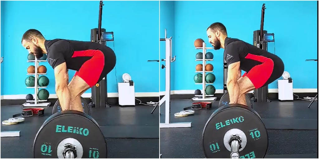 On the left is previous deadlift form and on the right is new technique