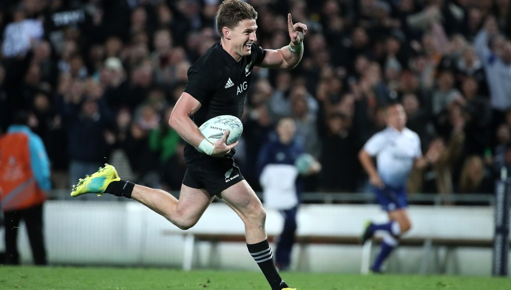 Beauden Barrett races over for one of his four tries against the Wallabies in Auckland.