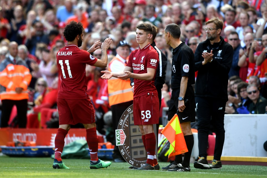 Ben Woodburn coming on for Mohamed Salah