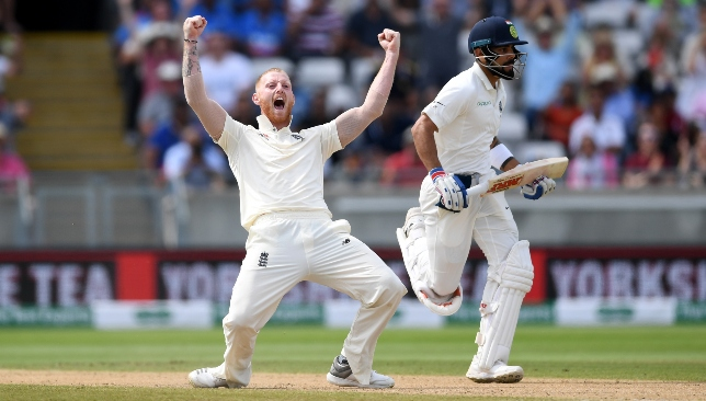 Big wicket: Ben Stokes waits for the umpire's finger as Virat Kohli departs.