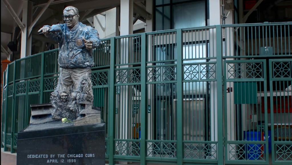 Getting Caray-ied away: Harry Caray outside Wrigley Field.
