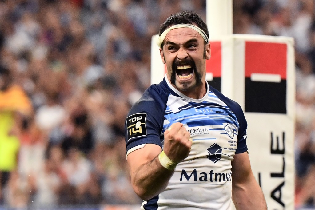 Castres' centre Thomas Combezou celebrates during last season's Top 14 final.