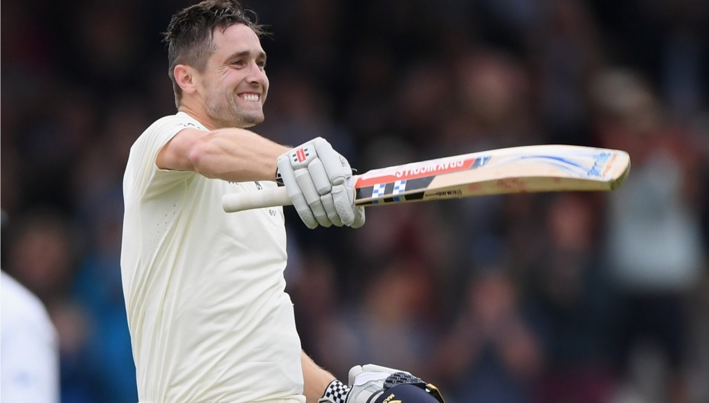 Chris Woakes celebrates after scoring his maiden Test hundred at Lord's