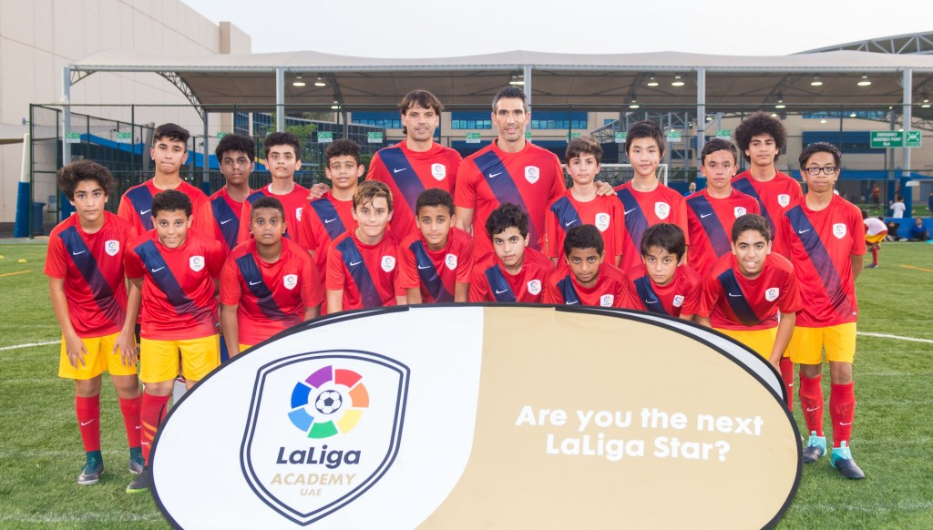 Stars: Fernando Morientes, former Real Madrid player and Fernando Sanz, General Director, LaLiga - MENA with LaLiga Academy Abu Dhabi players.