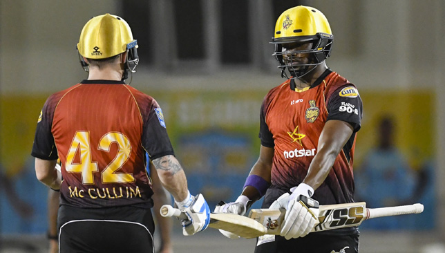 Darren Bravo (r) of Trinbago Knight Riders. Image: CPL T20/Getty Images.