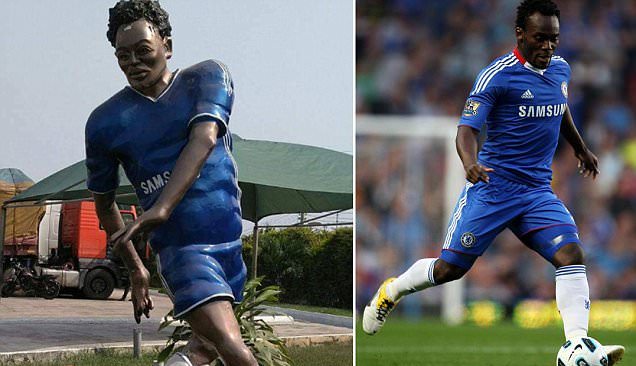 Feeling Blue: Essien the statue (l) and Essien the player.