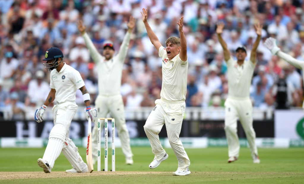 BIRMINGHAM, ENGLAND - AUGUST 03: Sam Curran of England appeals during day three of Specsavers 1st Test match between England and India at Edgbaston on August 3, 2018 in Birmingham, England. (Photo by Gareth Copley/Getty Images)