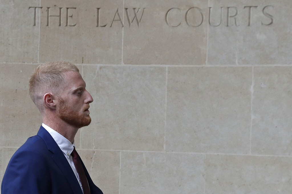 England cricketer Ben Stokes arrives for the start of his trial at Bristol Crown Court in Bristol, south-west England on August 6, 2018. - Ben Stokes's international career will be placed in suspended animation when the England cricketer appears in a Bristol court on Monday charged with affray. (Photo by Adrian DENNIS / AFP) (Photo credit should read ADRIAN DENNIS/AFP/Getty Images)