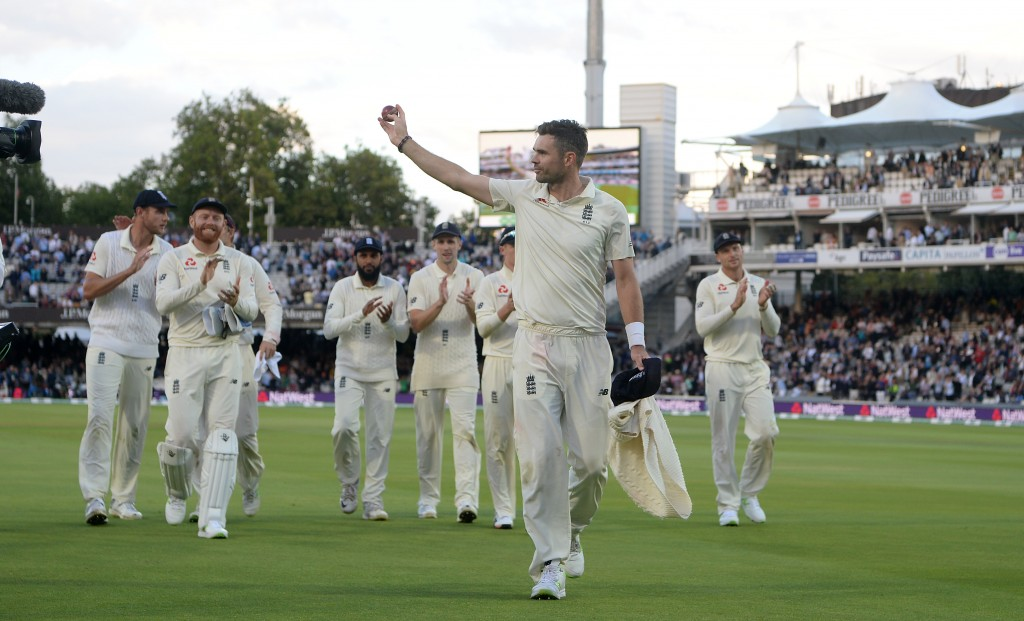 LONDON, ENGLAND - AUGUST 10: James Anderson of England salutes the crowd after taking a five wicket haul during day two of the 2nd Specsavers Test between England and India at Lord's Cricket Ground on August 10, 2018 in London, England. (Photo by Gareth Copley/Getty Images)